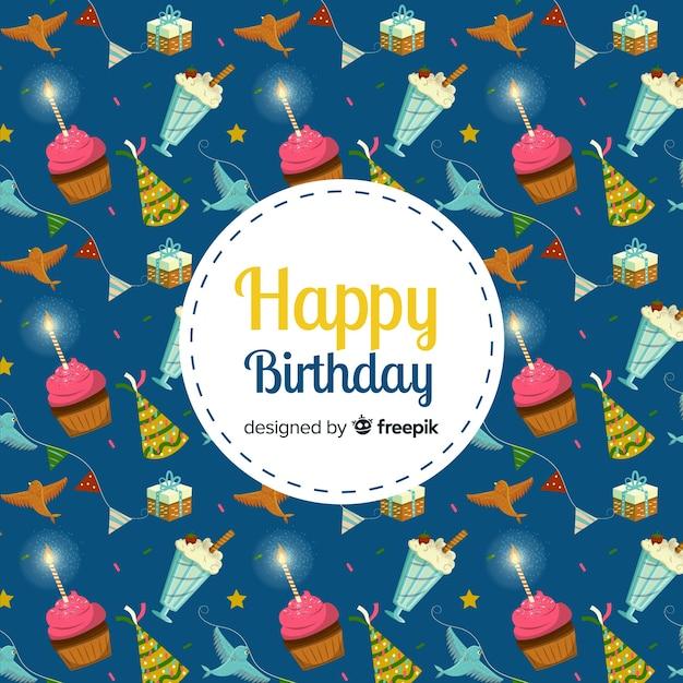Sticker joyeux anniversaire avec des bonbons sur fond Vecteur gratuit