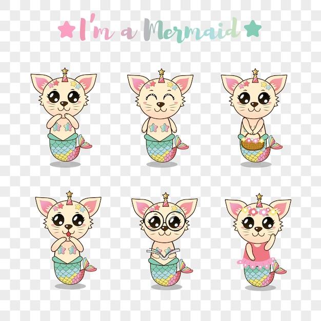 Sticker mignon sirène chat pour enfants Vecteur Premium