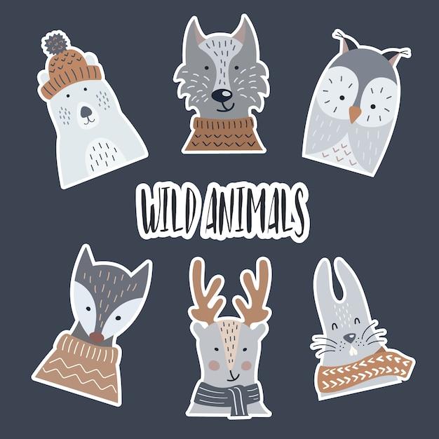 Stickers animaux sauvages et forestiers Vecteur Premium