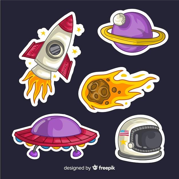 Stickers espace dessinés à la main Vecteur gratuit
