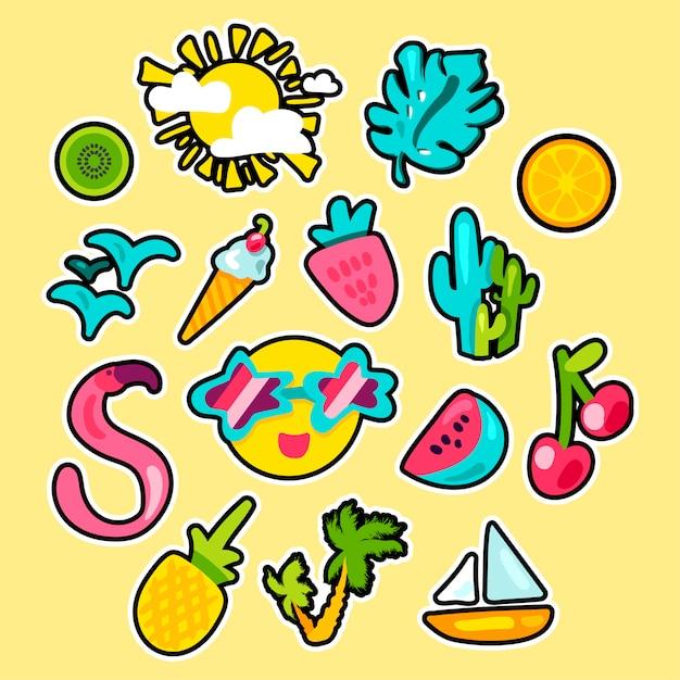 Stickers été tropical dessinés à la main Vecteur Premium
