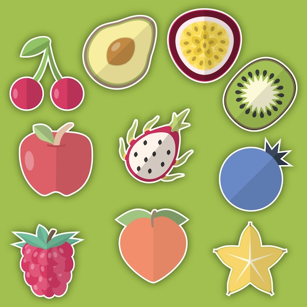 Stickers fruits Vecteur Premium