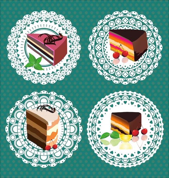 Stickers tranche de gâteau Vecteur Premium