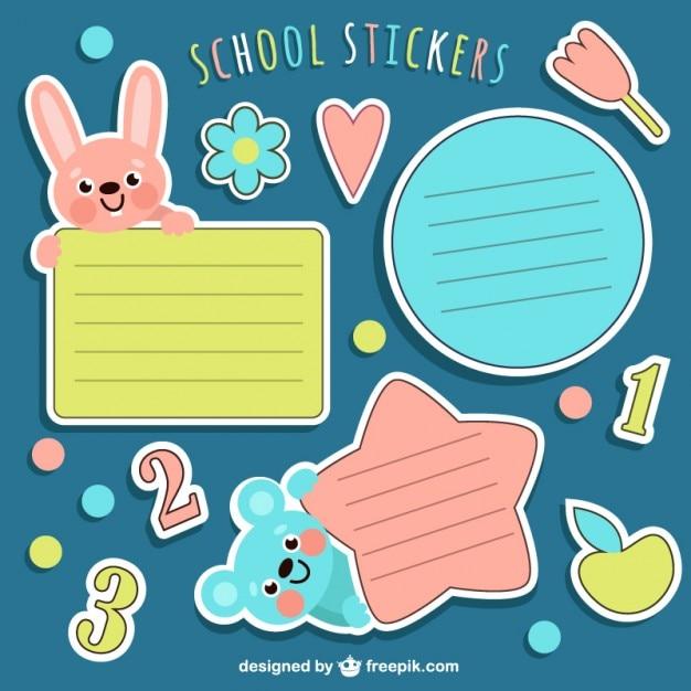 Stikers scolaires emballent Vecteur gratuit