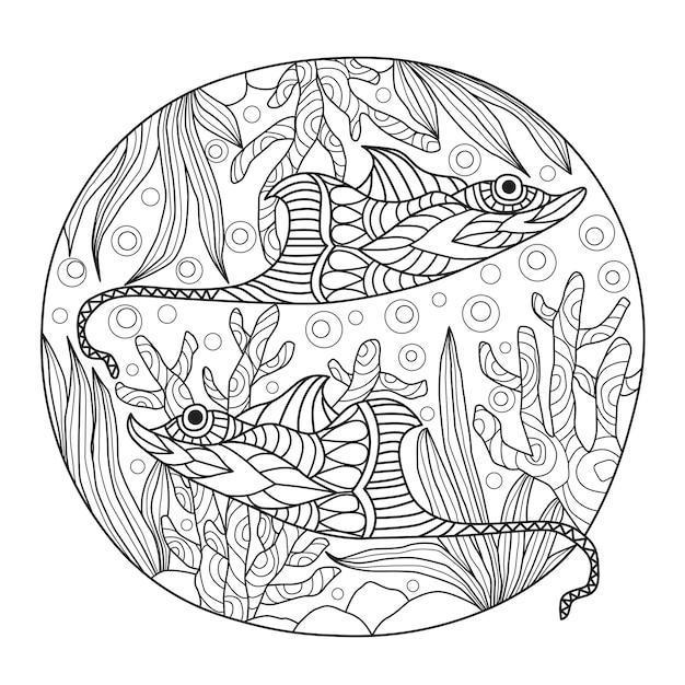 Stingrays dessinés à la main sous la mer Vecteur Premium