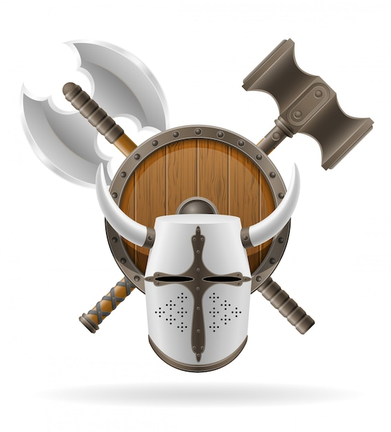 Stock d'armes de bataille anciennes. Vecteur Premium