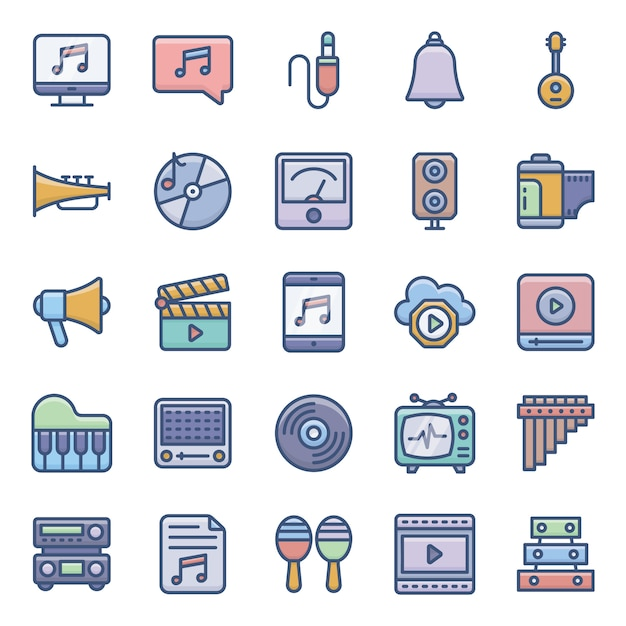 Stock audio flat icons set Vecteur Premium