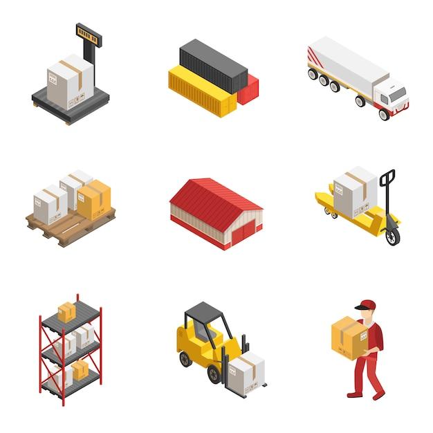 Stock logistics icon set isométrique Vecteur gratuit
