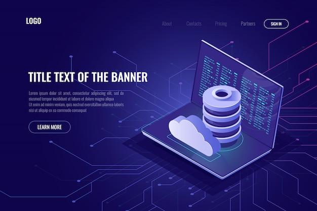 Stockage de données dans le cyberespace et dans le nuage Vecteur gratuit