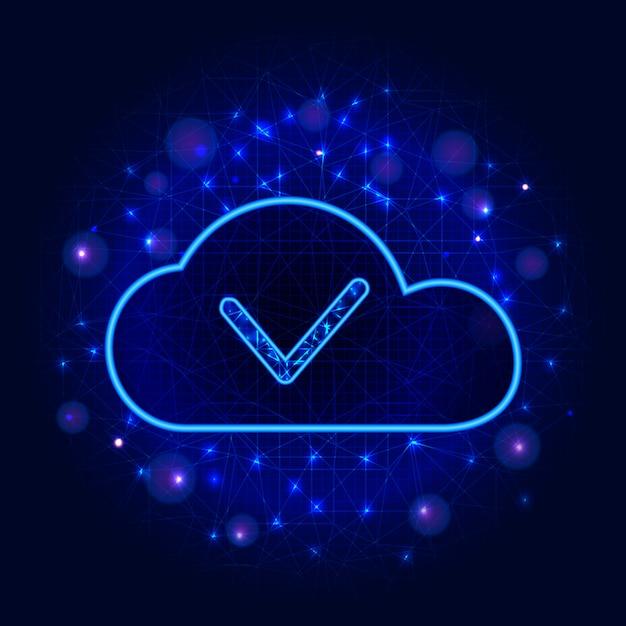 Stockage de données en nuage ou concept technologique informatique. Vecteur Premium