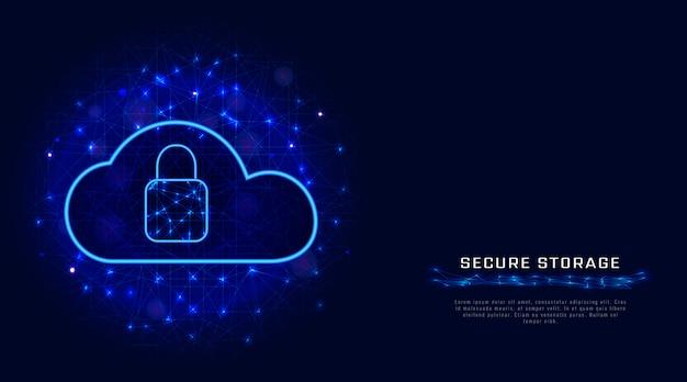 Stockage En Ligne. La Cyber-sécurité. Vecteur Premium