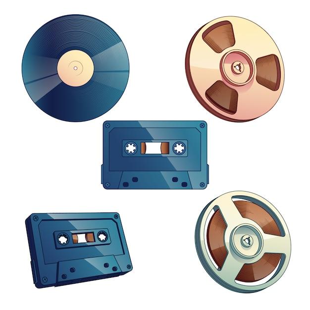 Stockage multimédia rétro pour la musique et le son ensemble isolé sur fond blanc. Vecteur gratuit