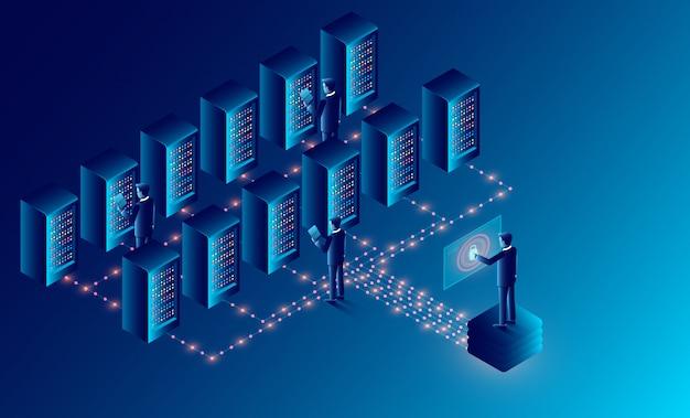 Stockage en nuage dans la salle des serveurs de centres de données et traitement des données volumineuses concept de protection des données. isométrique Vecteur Premium