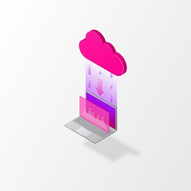 Stockage en nuage isométrique Vecteur Premium