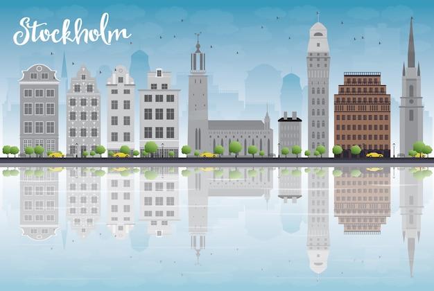 Stockholm Skyline Avec Bâtiments Gris Et Ciel Bleu Vecteur Premium