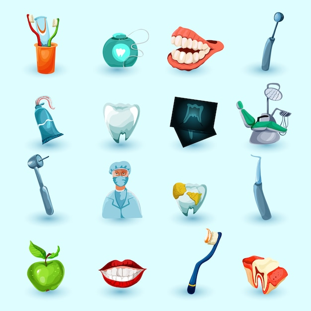 Stomatologie icons set Vecteur gratuit