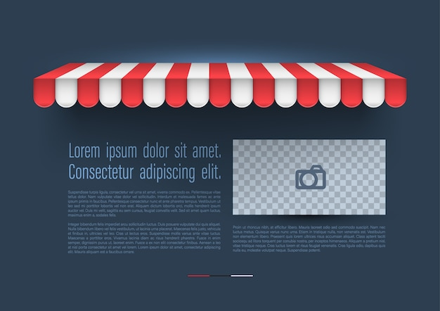 Store store rayé avec bannière rétro. Vecteur Premium