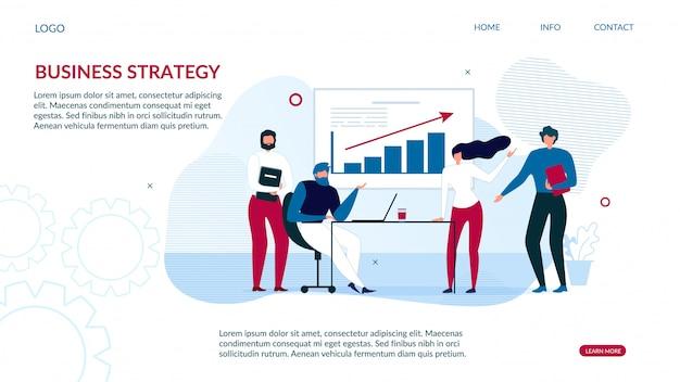 Stratégie commerciale de la page de destination pour l'analyse des données Vecteur Premium