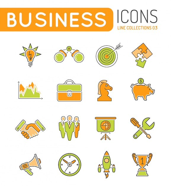 Stratégie commerciale web mince couleur icon set Vecteur Premium