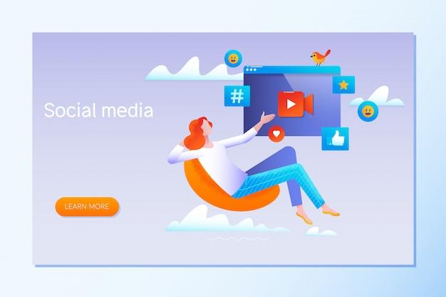 Stratégie de médias sociaux Vecteur Premium
