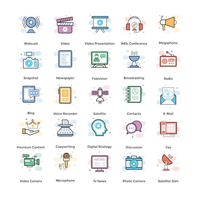 Streaming flat icons pack Vecteur Premium