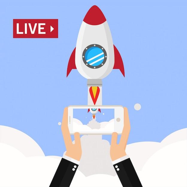 Streaming vidéo sur smartphone Vecteur Premium