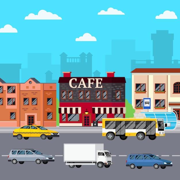 Street cafe urban composition Vecteur gratuit