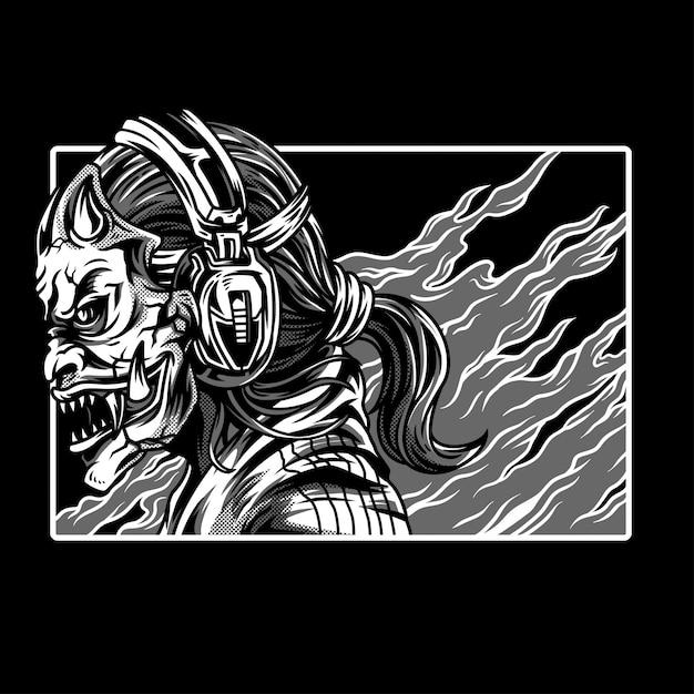 Street devils illustration noir et blanc Vecteur Premium