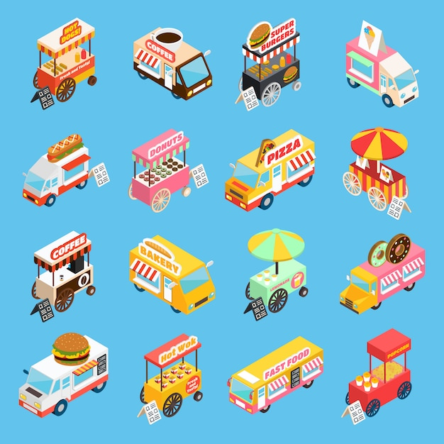 Street food carts isometric icons set Vecteur gratuit