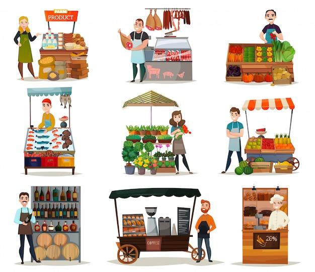 Street Food Icons Set Vecteur gratuit