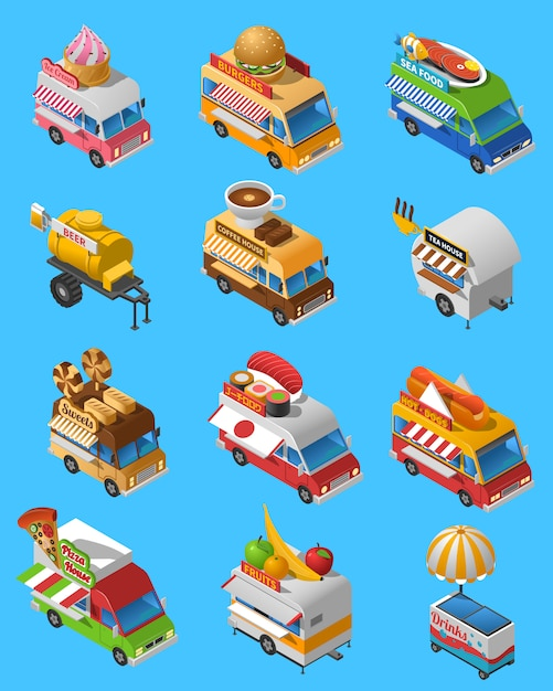 Street food trucks isometric icons set Vecteur gratuit