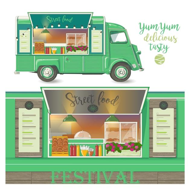 Street food van. livraison rapide illustration vectorielle isolée sur fond blanc Vecteur Premium