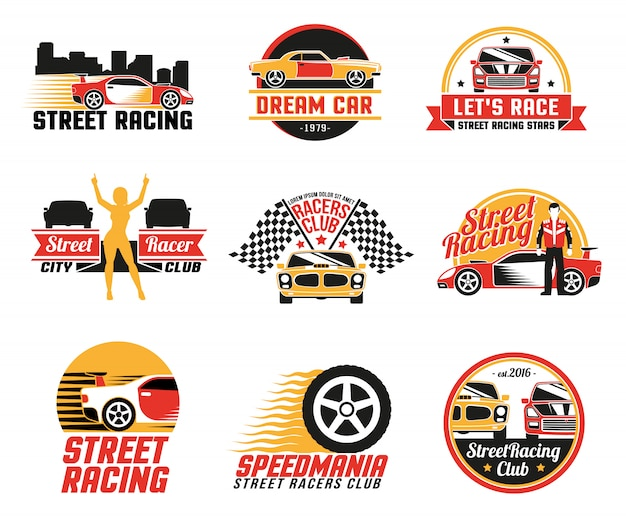 Street racing logo emblems icons set Vecteur gratuit