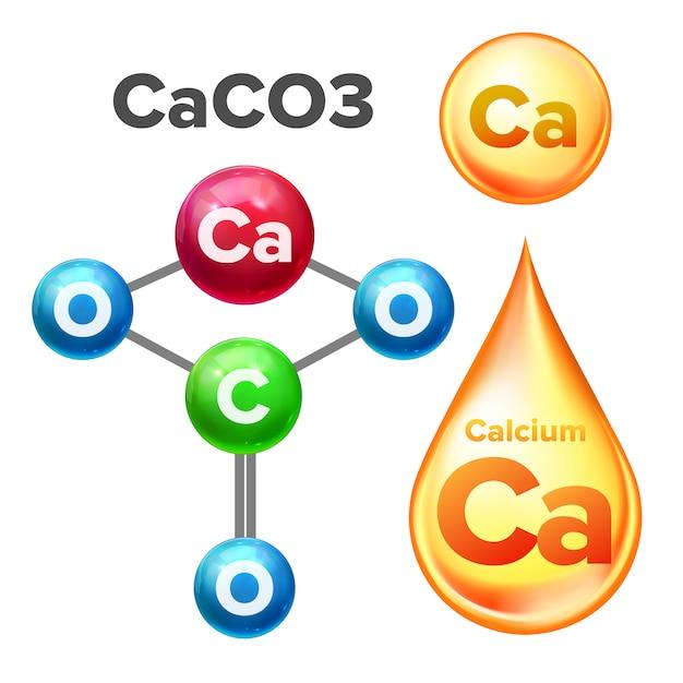 Structure Moléculaire Carbonate De Calcium Caco3 Vecteur Premium