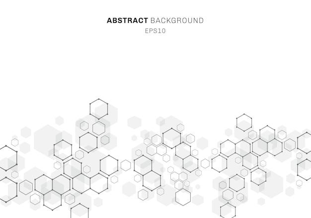 Structure de la molécule hexagonale abstraite du système de neurones Vecteur Premium