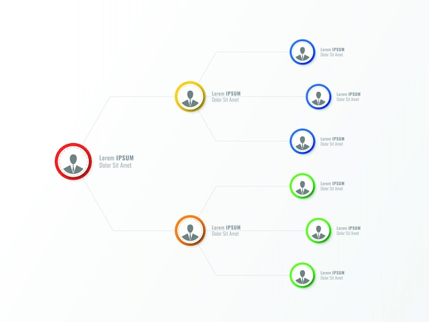 Structure organisationnelle de l'entreprise. éléments infographiques de hiérarchie d'entreprise. Vecteur Premium