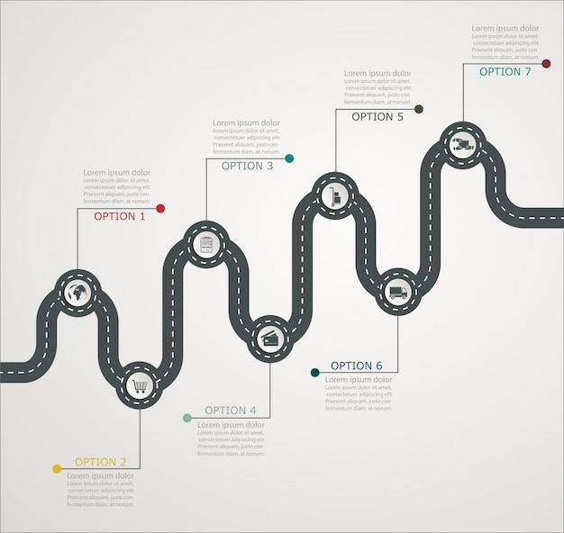 Structure par étapes de route infographie chronologie avec des icônes, service aux entreprises, shopping, livraison web Vecteur Premium