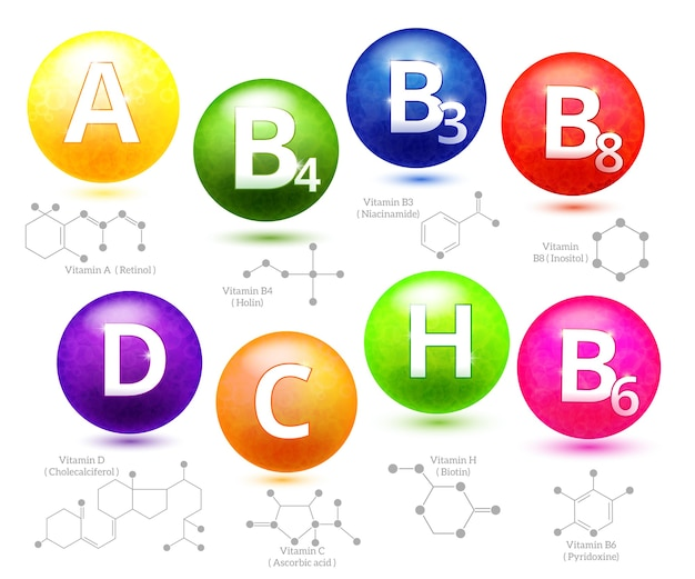 Structures Chimiques Des Vitamines. Molécule Vitamine, Vitamine Chimique Moléculaire, Vitamine De Chimie De Structure, Illustration Vectorielle Vecteur gratuit