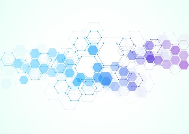 Structures moléculaires hexagonales abstraites Vecteur Premium