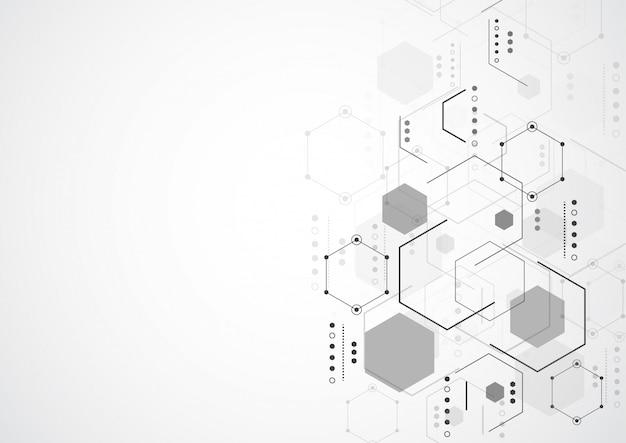 Structures moléculaires hexagonales dans le contexte de la technologie Vecteur Premium