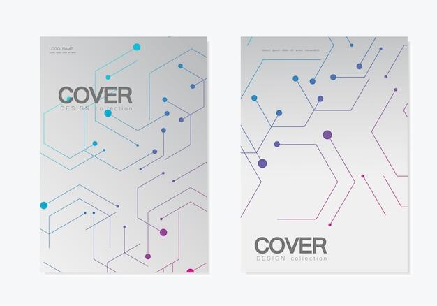 Structures technologiques abstraites de motifs hexagonaux Vecteur Premium