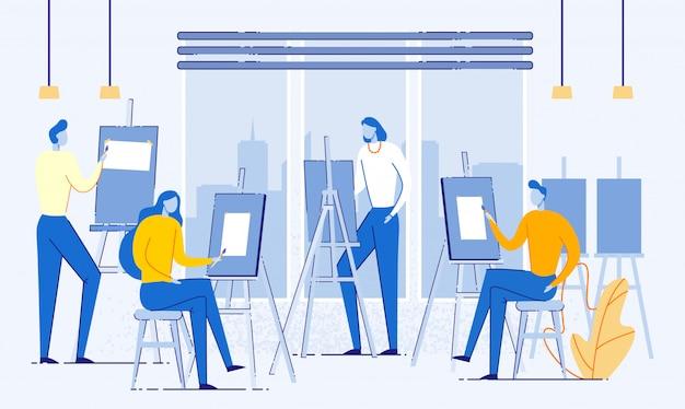 Studio d'art avec des gens qui peignent sur une toile plate. Vecteur Premium