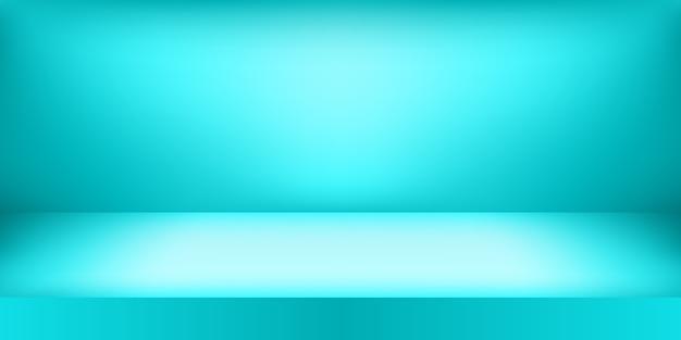 Studio De Couleur Bleu Vide. Fond De La Salle, Affichage Du Produit Avec Espace De Copie Pour L'affichage De La Conception Du Contenu. Vecteur Premium