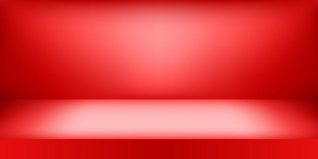 Studio De Couleur Rouge Vide. Fond De La Salle, Affichage Du Produit Avec Espace De Copie Pour L'affichage De La Conception Du Contenu. Vecteur Premium