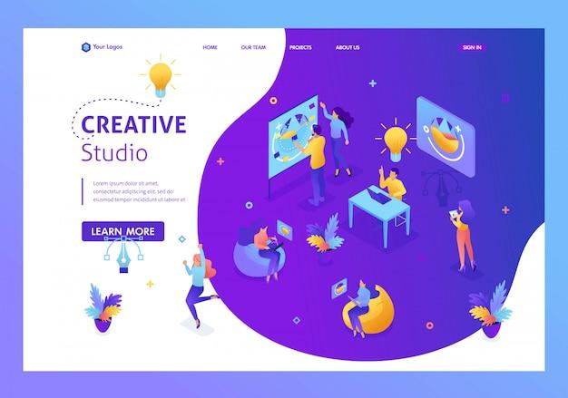 Studio Créatif De Concept Isométrique, Créant Des Idées, Les Employés Développent Le. Travail D'équipe De Personnes Créatives. Page De Destination Du Modèle De Site Web Vecteur Premium