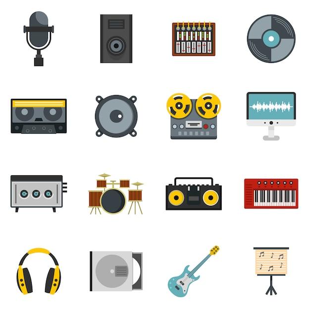 Studio d'enregistrement des éléments d'icônes dans un style plat Vecteur Premium