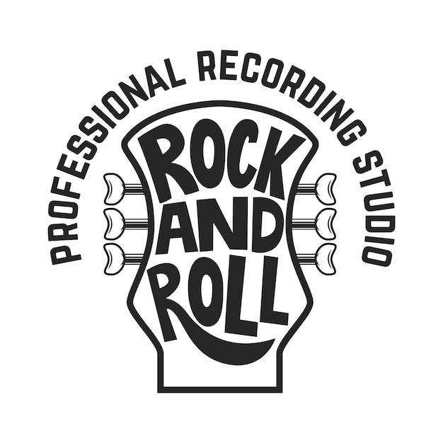 Studio D'enregistrement. Tête De Guitare Avec Lettrage. Rock And Roll. Vecteur Premium