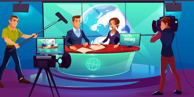 Studio D'information Télévisé Avec Des Présentateurs De Télévision Reportant Dans Une Salle De Radiodiffusion Vecteur gratuit