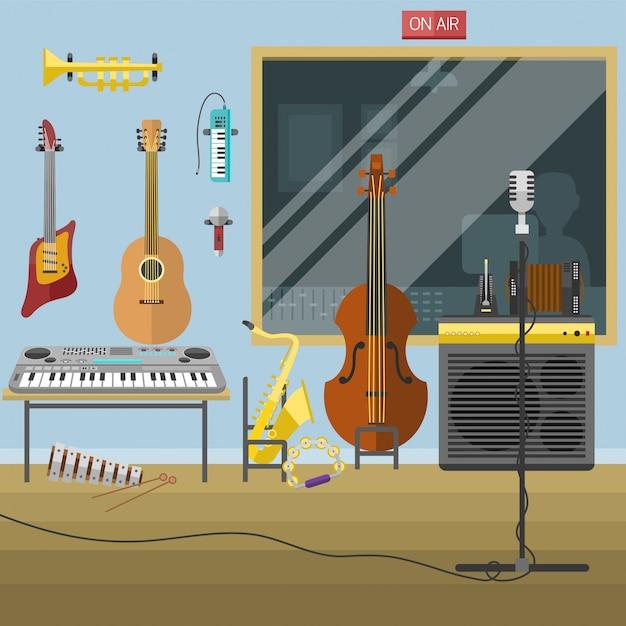 Studio De Musique Instruments De Musique Producteur Record Volume Intérieur Illustration Vectorielle. Vecteur Premium