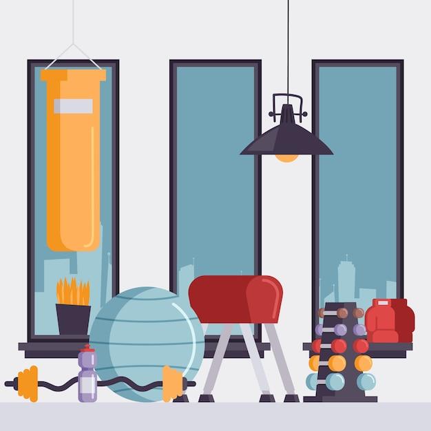 Studio de sport vide avec sac de boxe, balle de gymnastique et haltères, Vecteur Premium